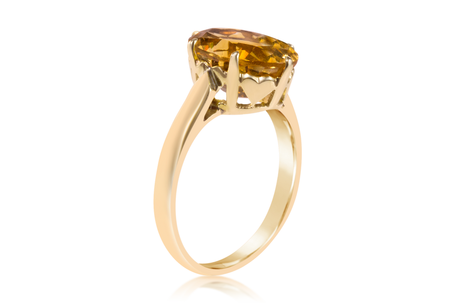 Cathedral Set Oval Citrine Solitaire Fashion Ring