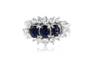 3-Stone Natural Sapphire Fashion Ring