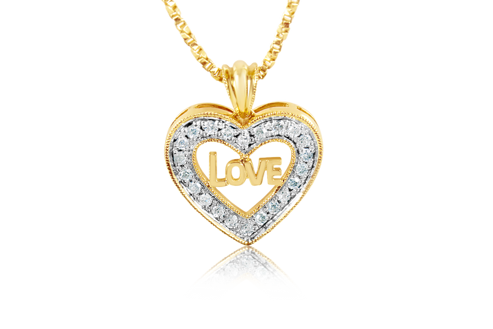 """Love"" Diamond Heart Pendant"