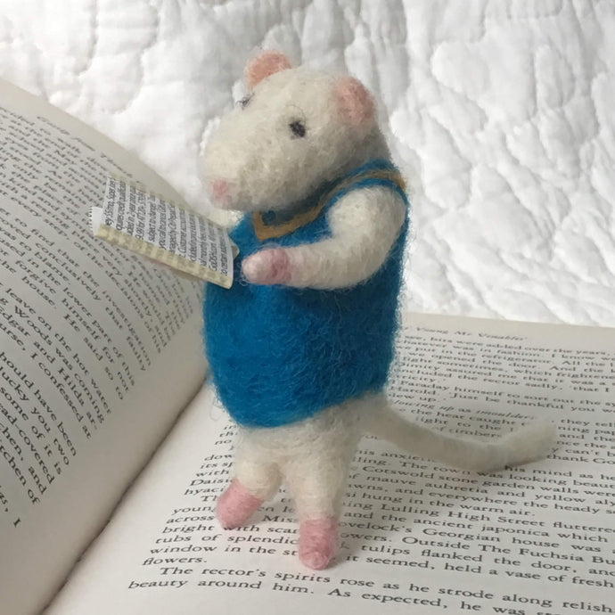 needle felted mouse reading a book and wearing a blue sweater