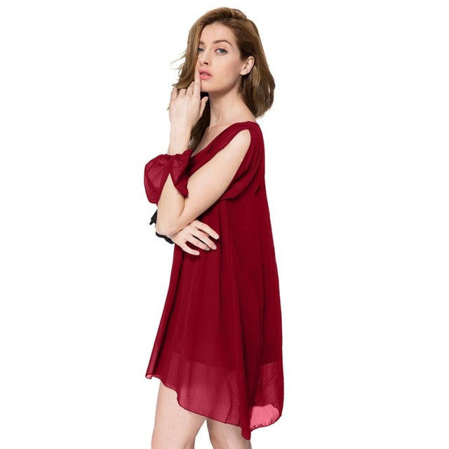 Womens Elegant 2016 Sexy Party Dresses Women Loose wine Red Solid Color Chiffon Wide Collar Mini Dress #LSW - Goodies Online Store