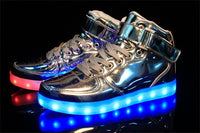 Merkmak  2017 Unisex Lights Up Led Luminous Shoes High Top Glowing Casual Shoe With Simulation Sole Shoes For Men Big Size 35-46 - Goodies Online Store