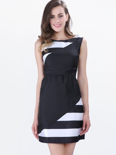 Sleeveless Stripes A-Line Single Mid-Waist Women's Day Dress - Goodies Online Store