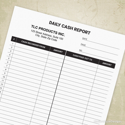 Daily Cash Report Printable Form (editable)