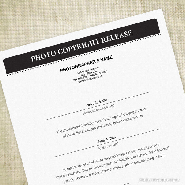 Photo Copyright Print Release Printable Form (editable)