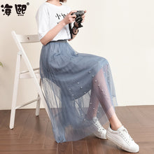 Pearly Look Mesh Skirt-Bottoms-[korean fashion]-[korean clothing]-[korean style]-SOO・JIN