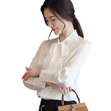 Bow Knot Temperament Chiffon Blouse-Blouses & Shirts-[korean fashion]-[korean clothing]-[korean style]-SOO・JIN
