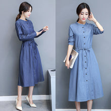 Blouse Style Denim Dress-Dresses-[korean fashion]-[korean clothing]-[korean style]-SOO・JIN