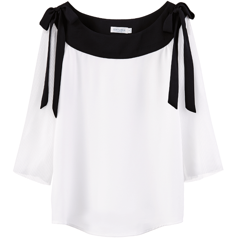 Black Outline Chiffon Blouse-Blouses & Shirts-[korean fashion]-[korean clothing]-[korean style]-SOO・JIN