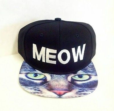 Meow Kitty Cat Kitten Snapback Hat Black and White Multi-Color One Size