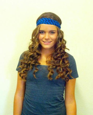 Chevron Stripe Black and Blue Headband Turban Wrap Wide Womens Head band
