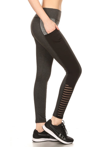 Black & Heather Grey Pocket Womens Leggings Mesh Stripe Athletic Activewear