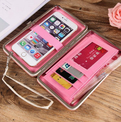ladies cell phone wallet holds phone, cash and cards