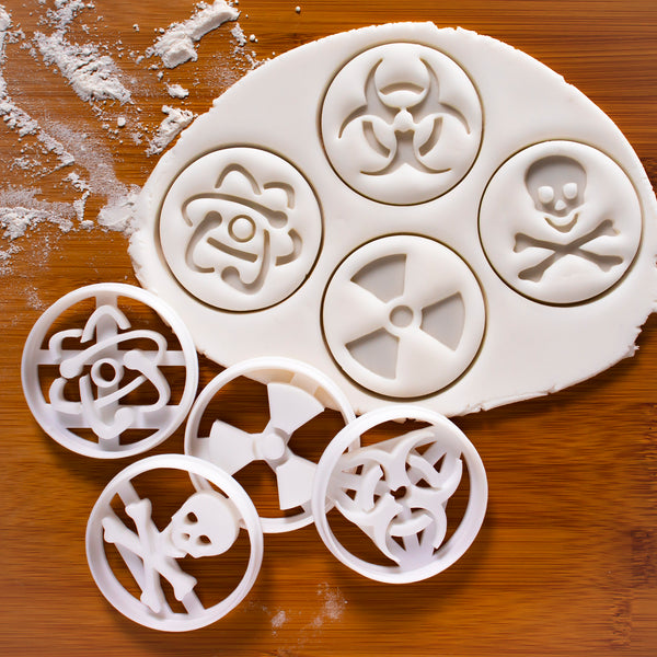set of 4 science symbol cookie cutters