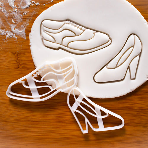 set of brogue shoe and high heel shoe cookie cutter