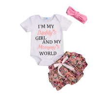 """Daddy's Girl & Mommy's World"" Baby Girl Romper and Floral Shorts"