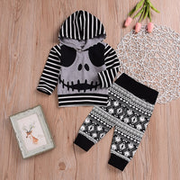 2018 Halloween Baby Striped Skull Hooded Top & Leggings Outfit