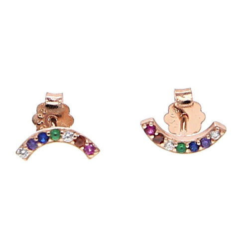 KIKICHIC CZ Rainbow Stud Earring Solid Sterling Silver (925), Gold Small Stud Rainbow Earrings, Multi Color Tiny Stud Earrings in Silver, Colorful Stud Earrings in Rose Gold.