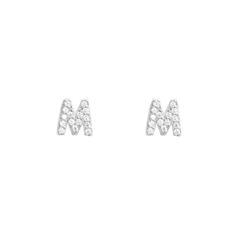 KIKICHIC Letter M Stud Earrings CZ Diamond Sterling Silver, Tiny Single Letter M Stud Earrings, White Gold CZ Diamond Initial M Stud Earrings, Small CZ Letter M Stud Earrings, CZ Pave Letter M Initial Name Stud Earrings, Name Initial M Earrings Small.