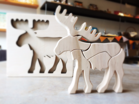 Elk Wooden Blocks, Handmade Wooden Elk - paint it yourself