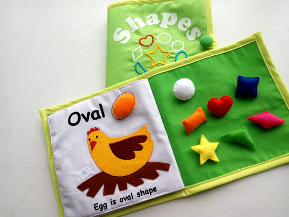 Shape Learning, Shape Fabric Book, Quiet Book, Nursery learning, Montessori Material