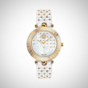 Versace Vanitas VK7510017 Ladies Gold case and White Leather Strap Swiss Watch