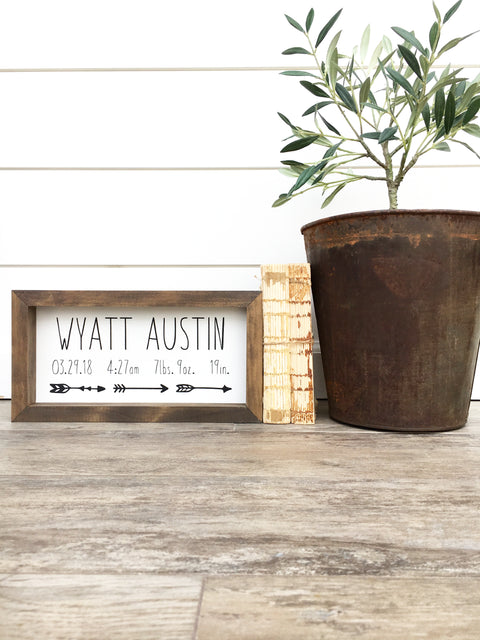 Custom Birth Announcement Wood Sign
