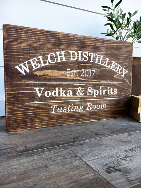 Custom Tasting Room Wooden Sign