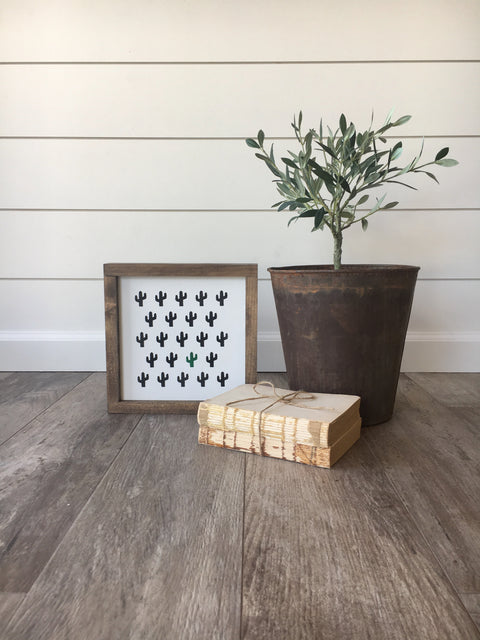 Cactus Maze Wooden Framed Sign