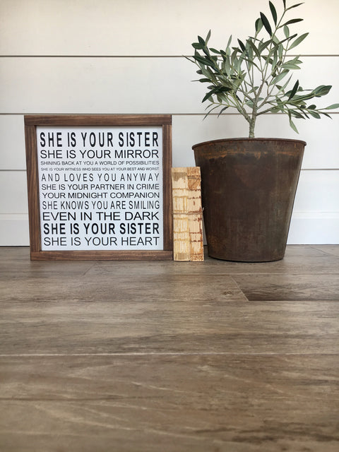 Sister Wooden Framed Sign