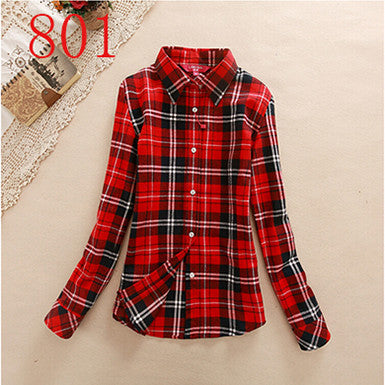 2017 New Hot Sale Long Sleeve Cotton Plaid Shirt Turn Down Collar Shirt Blusas Feminino Ladies Blouses Womens Tops Fashion-Women's Blouses-Enso Store-801-L-Enso Store