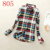 2017 New Hot Sale Long Sleeve Cotton Plaid Shirt Turn Down Collar Shirt Blusas Feminino Ladies Blouses Womens Tops Fashion-Women's Blouses-Enso Store-805-L-Enso Store