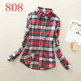 2017 New Hot Sale Long Sleeve Cotton Plaid Shirt Turn Down Collar Shirt Blusas Feminino Ladies Blouses Womens Tops Fashion-Women's Blouses-Enso Store-808-L-Enso Store