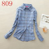 2017 New Hot Sale Long Sleeve Cotton Plaid Shirt Turn Down Collar Shirt Blusas Feminino Ladies Blouses Womens Tops Fashion-Women's Blouses-Enso Store-809-L-Enso Store