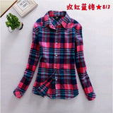 2017 New Hot Sale Long Sleeve Cotton Plaid Shirt Turn Down Collar Shirt Blusas Feminino Ladies Blouses Womens Tops Fashion-Women's Blouses-Enso Store-813-L-Enso Store