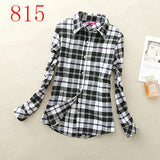 2017 New Hot Sale Long Sleeve Cotton Plaid Shirt Turn Down Collar Shirt Blusas Feminino Ladies Blouses Womens Tops Fashion-Women's Blouses-Enso Store-815-L-Enso Store