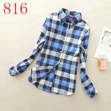 2017 New Hot Sale Long Sleeve Cotton Plaid Shirt Turn Down Collar Shirt Blusas Feminino Ladies Blouses Womens Tops Fashion-Women's Blouses-Enso Store-816-L-Enso Store