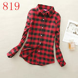 2017 New Hot Sale Long Sleeve Cotton Plaid Shirt Turn Down Collar Shirt Blusas Feminino Ladies Blouses Womens Tops Fashion-Women's Blouses-Enso Store-819-L-Enso Store