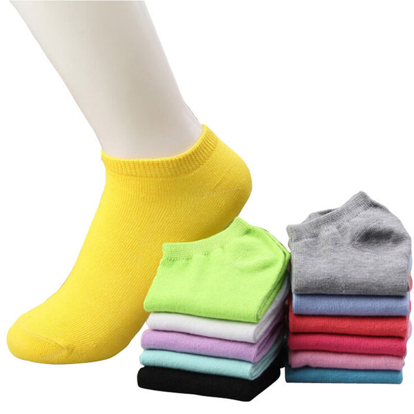 20pcs=10pairs/lot women cotton socks summer cute candy color boat socks ankle socks for woman thin sock slippers s04 - EnsoStore
