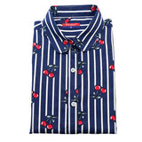 Dioufond Women Cherry Blouses Long Sleeve Shirt Turn Down Collar Floral Blouse Camisas Femininas Women And Blouses Fashion-Women's Blouses-Enso Store-Navy-4XL-Enso Store