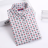 Dioufond Women Cherry Blouses Long Sleeve Shirt Turn Down Collar Floral Blouse Camisas Femininas Women And Blouses Fashion-Women's Blouses-Enso Store-Poker-4XL-Enso Store