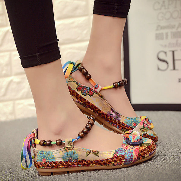 Handmade Beaded Ankle Straps Casual Flat-Women's Flats-Enso Store-Retro color-5-Enso Store