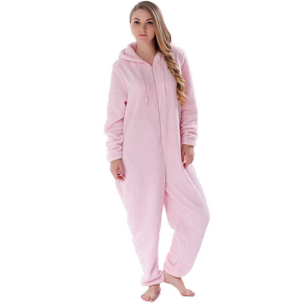 JUICE MATE Plus Size Fluffy Fleece Pyjama Onesie Pink Hot Pink Cream Sleepwear Winter Warm Hooded Pajama Onesie For Women-Enso Store-Pink-L-Enso Store