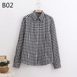 LOSSKY 2017 Women's Plaid Shirt Female College style Blouses Long Sleeve Flannel Shirt Plus Size Cotton Blusas Office tops-Women's Blouses-Enso Store-B02-XL-Enso Store