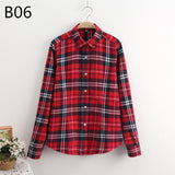 LOSSKY 2017 Women's Plaid Shirt Female College style Blouses Long Sleeve Flannel Shirt Plus Size Cotton Blusas Office tops-Women's Blouses-Enso Store-B06-XL-Enso Store
