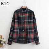 LOSSKY 2017 Women's Plaid Shirt Female College style Blouses Long Sleeve Flannel Shirt Plus Size Cotton Blusas Office tops-Women's Blouses-Enso Store-B14-XL-Enso Store