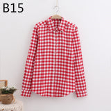 LOSSKY 2017 Women's Plaid Shirt Female College style Blouses Long Sleeve Flannel Shirt Plus Size Cotton Blusas Office tops-Women's Blouses-Enso Store-B15-XL-Enso Store