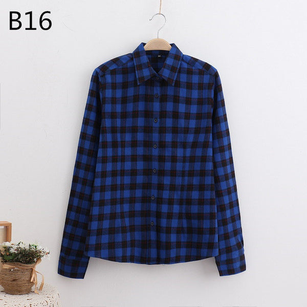 LOSSKY 2017 Women's Plaid Shirt Female College style Blouses Long Sleeve Flannel Shirt Plus Size Cotton Blusas Office tops-Women's Blouses-Enso Store-B16-XL-Enso Store