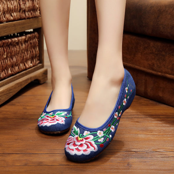 Plus Size 41 Chinese retro embroidery cloth shoes slope old Beijing leisure canvas floral dancel walking shoes-Women's Flats-Enso Store-Black-4-Enso Store