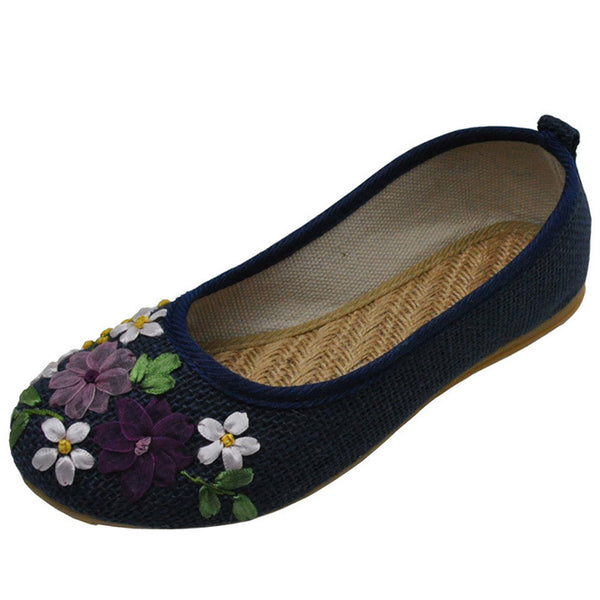 Plus size 42 Vintage Embroidered Women Shoes Flats Old Peking Flower Embroidered Canvas Linen Shoes Sapato Feminino Ballet Shoes-Women's Flats-Enso Store-Khaki-4-Enso Store
